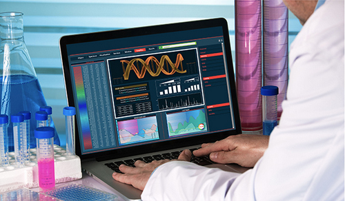 Health care provider accessing clinical data and samples on a computer.