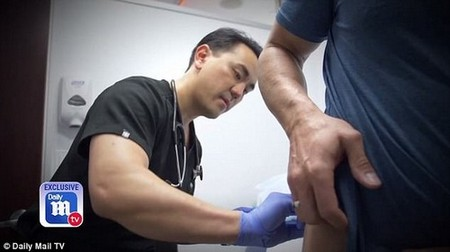 His doctor, Dr Chris Asandra, administers the pellets, which are increasingly popular