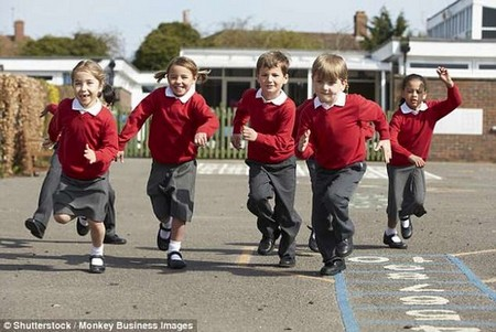Children who are made to walk or run just one mile a day are significantly healthier than their sedentary peers, new research suggests. The Daily Mile scheme was set up in 2012 (stock)
