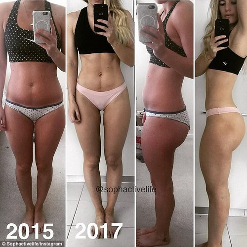 'I have cellulite too and it appears when I squeeze my butt and disappears by slightly tilting my hips out,' Ms Allen wrote on one comparison photo (pictured in 2015 and 2017)