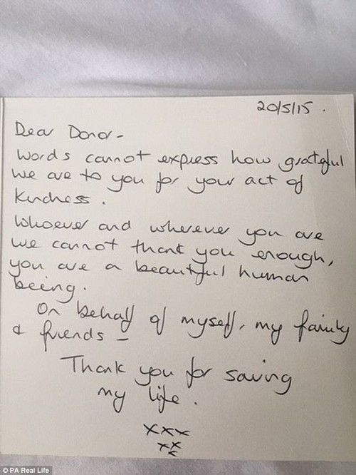 This was the very first card that Nicky wrote to Annette to thank her for saving her life