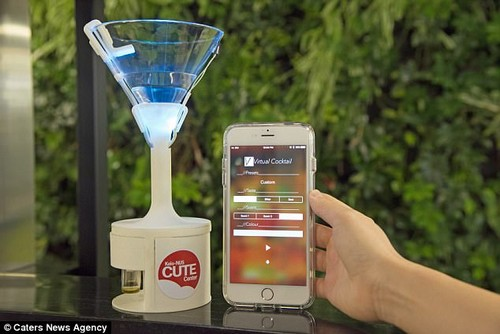 The glass's three sensory components are controlled via a smartphone app (pictured). Because the software can combine a large number of smells, colours and tastes, the Vocktail can create almost any flavour, the scientists claim