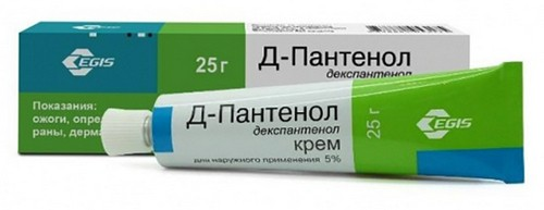 D-panthenol in the form of ointment or cream, the choice of drug